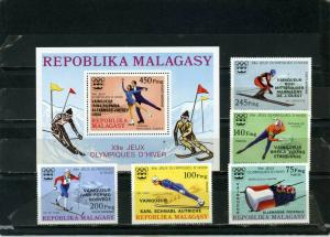 MADAGASCAR 1976 WINTER OLYMPIC GAMES INNSBRUCK SET OF 5 STAMPS & S/S OVERP. MNH
