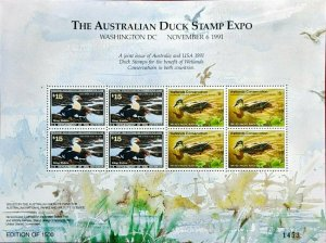 1991 AUSTRALIAN DUCK STAMP EXPO min sheet and $3.30 Cape York Queensland x8 Used