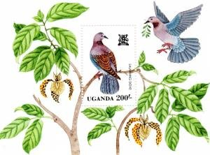 Uganda 1982 EXOCTIC BIRDS s/s Perforated Mint (NH)