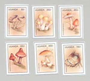 Uganda Circa 1996 Mushrooms 6v Unissued Chromalin Essays