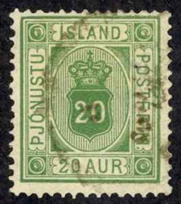 Iceland Sc# O8 Used 1876-1895 20a Official