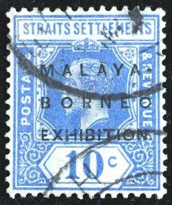 Malaya-Borneo Exhibition MBE opt Straits Settlements KGV 10c Used SG#254 M2954