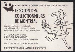 CANADA MONTREAL 1988 FQP LE SALON DES COLLECTIONNEURS POSTER CARD, MEMORABILIA