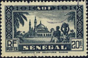SENEGAL - 1935 - Yv.137 / Mi.147 20fr Noir bleuté - Oblitéré TB