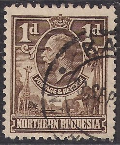 Northern Rhodesia 1925 - 29 KGV 1d Brown used SG 2 ( A442 )