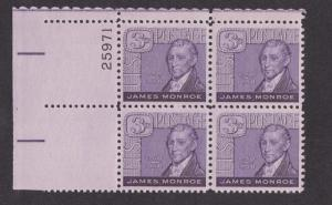 1105 James Monroe MNH Plate Block UL