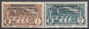 French Equatorial Africa, SW11-12, MH-HR, 1936, Mid. Congo Overprint