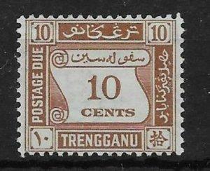 MALAYA TRENGGANU SGD4 1937 10c BROWN POSTAGE DUE MTD MINT