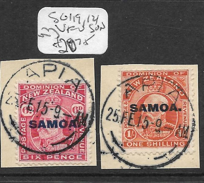 SAMOA  (P0710B) OVPT ON NZ KE 6D, 1/-  SG 119, 121  SON VFU