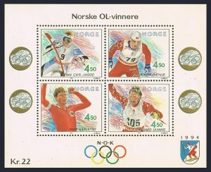 Norway 1021,MNH.Michel 1074-1077 Bl.16. Olympics Lillehammer-1992.Gold medalists