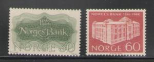 Norway Sc 492-3 1966 Bank of Norway stamps mint NH
