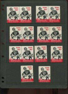 14 VINTAGE AMERICAN RELIEF FOR ITALY NAT'L WAR FUND POSTER STAMPS (By 897)