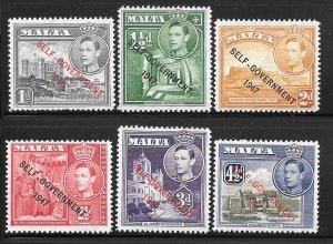 Malta 235-240: Overprints, MH, F-VF