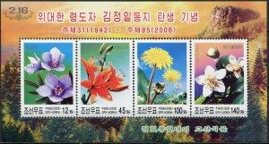 Korea 2006. Flowers (MNH OG) Souvenir Sheet