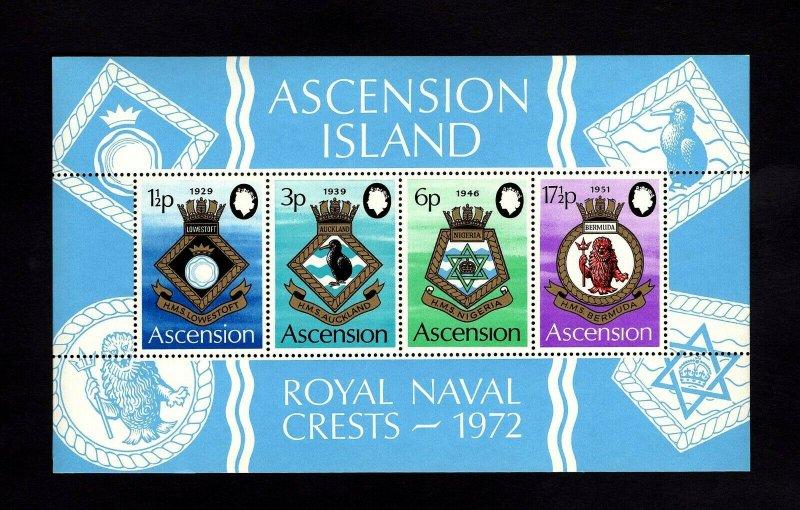 ASCENSION - 1972 - COATS OF ARMS - ROYAL NAVY SHIPS - CRESTS - MINT MNH S/SHEET!