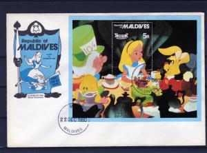 Maldives 1980 DISNEY ALICE IN WONDERLAND S/S Perforated in official FDC