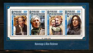 CENTRAL AFRICA 2016 TRIBUTE TO ALAN RICKMAN HARRY POTTER SHEET MINT NH