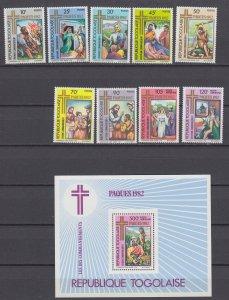 Z4114, 1982 togo set + s/s mnh #1132-8,c469-71 art