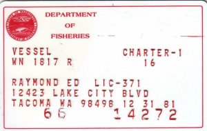1981, Washington State Dept. of Fisheries, Charter Vessel Permit (36714)