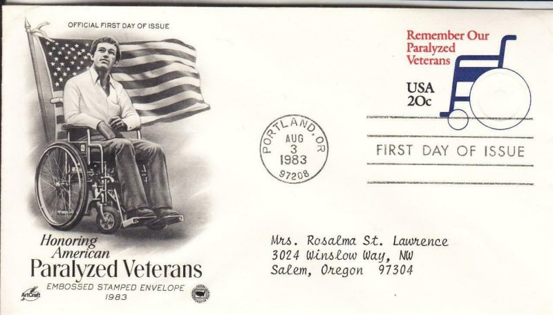 1983, Paralyzed Veterans Embossed Stamped Env., Artcraft/PCS, FDC (E8678)