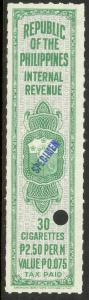 PHILIPPINES c1950 TAX PAID CIGARETTES REVENUE Blue Specimen 30 at 2.50p Per M