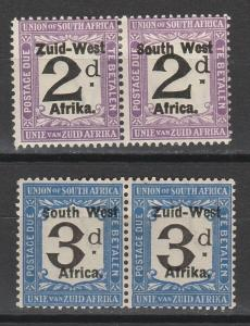 SOUTH WEST AFRICA 1923 POSTAGE DUE 2D AND 3D PAIRS SETTING II 10MM SPACING
