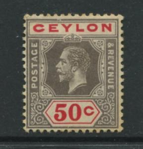 Ceylon -Scott 209 - KGV -Definitive- 1912- MH - Single 50c Stamp