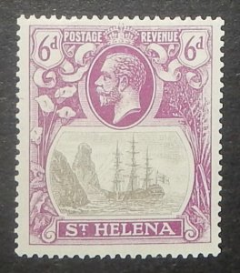 St. Helena 85. 1922 6p Red violet and black Badge of the Colony