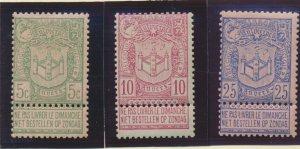 Belgium Stamps Scott #76 To 78, Mint Hinged - Free U.S. Shipping, Free Worldw...
