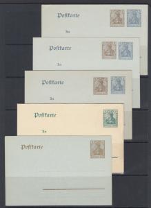 Germany Mi P70x/P77 unused. 1906-08 Postal Cards, 5 different, F-VF