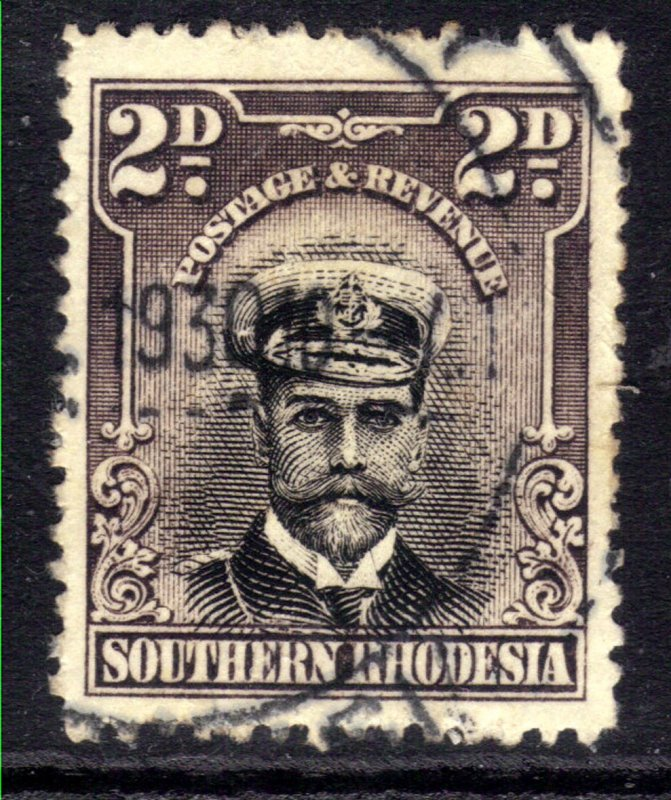 Southern Rhodesia 1924 - 29 KGV 2d Black & Purple Grey used SG 5 ( B334 )