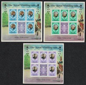 Uganda Charles and Diana Royal Wedding 3 sheetlets SG#345-347