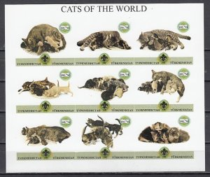 Turkmenistan, 1999 Russian Local. Cats sheet of 9. Scout Logo. IMPERF. ^