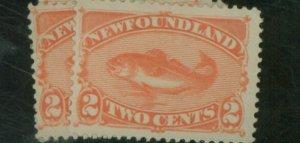 Newfoundland #48 (3) MINT F-VF OG HR Tiny thin Cat $98