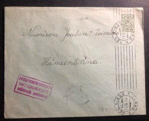 1915 Turku Finland Russia Occupation Commercial Censored Cover To Hameelinna