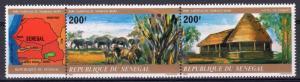 Senegal 1980 Sc#527 Niokolo Koba National Park-Herd-Gest House Strip (2+1L) MNH
