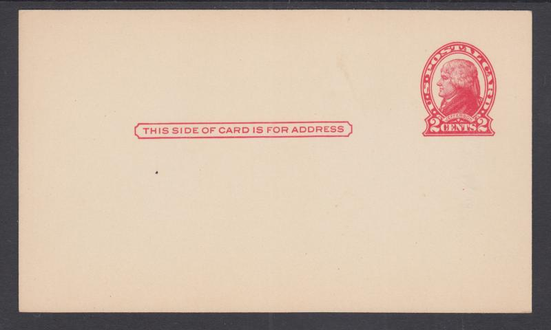 US Sc UX30 mint 1918 2c red Jefferson Postal Card