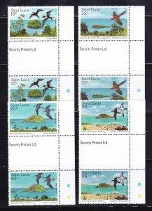 St Lucia 770-773 Gutter Pairs Set MNH Birds