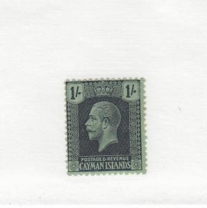 CAYMAN ISLANDS  # 59 VF-MH  1sh  1925  KING GEORGE V /BLACK GREEN CAT VALUE $12