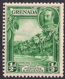 Grenada 1934 - 36 KGV 1/2d Green Grand Anse Beach MM SG 135a ( 69  )