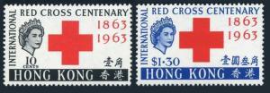 Hong Kong 219-220,MNH.Michel 212-213. Red Cross Centenary,1963.