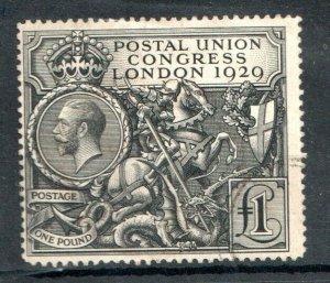 1929   S.G:438 - KING GEORGE V -  £1 P.U.C. - USED (A)