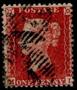 SG40, 1d rose-red, LC14, USED. Cat £12. ML