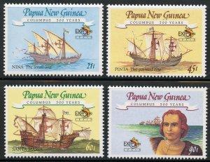 Papua New Guinea Scott 782-85 MNHOG - 1992 Columbian Stamp Expo Set - SCV $7.55