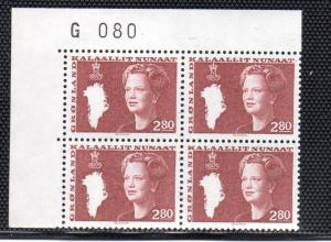 Greenland Sc 128 2.8 kr Queen stamp plate block of 4 mint NH