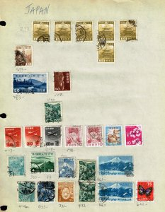 JAPAN STAMP USED STAMPS ON PAGE COLLECTION LOT  #5