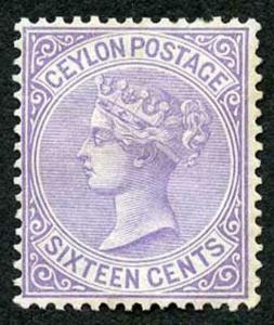 Ceylon SG126 16c Pale Violet Wmk Crown CC Perf 14 Mint (no gum) toned