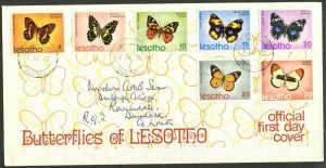 LESOTHO Sc#140-146 1973 Butterflies Cpl Set on Official FDC Addressed to Ireland