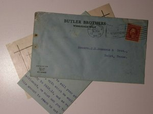 US Butler Bros Ad Cover Letter Her Majesty Safety Pins St Louis MO 1910 332a 375