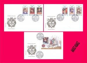 MOLDOVA 1997 Famous People Kings Princes Dukes Mi256-261+Bl.14(262) 3 FDC